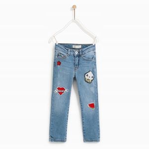 Zara girls ripped jeans with patches